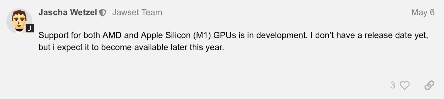 When will MAC GPU support be... - Workflow - Jawset Forum.png